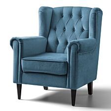 Cambridge Accent Chair Velvet Peacock Black Legs