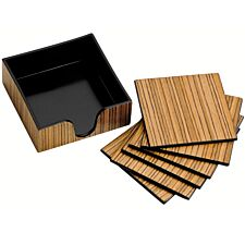 Premier Housewares Wood Veneer Coasters with Holder - Set of 6