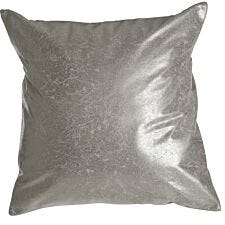 Premier Housewares Kensington Townhouse Leather Effect Cushion - Silver Crush