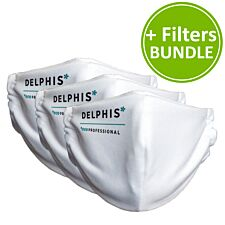 Delphis Eco Reusable Antimicrobial 3 Face Masks with Pouch and Extra Filters Bundle