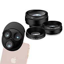 3-in-1 Camera Lens for All Mobile Phones With Fish-eye Lens and Wide Angle - Black