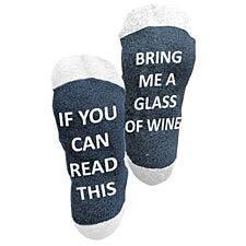 "Flo Socks ""Bring Me Wine"" Warm Winter Socks - Blue & White"
