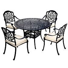 Charles Bentley Ornate Metal 5-Piece Dining Set with Cushions