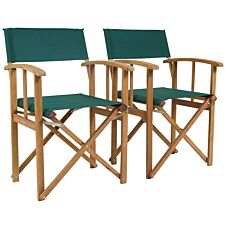 Charles Bentley Fsc Pair Of Wooden Foldable Directors Chairs With Green Fabric