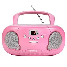 Groov-e Portable CD/Radio Boombox – Pink