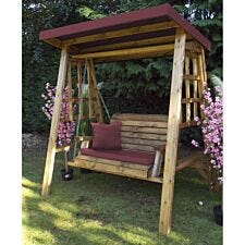 Charles Taylor Dorset Two Seat Swing with Burgundy Cushions and Roof Cover