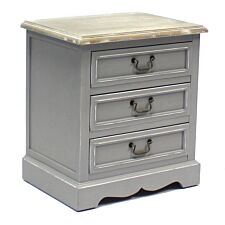 Charles Bentley Loxley Vintage 3 Drawer Bedside Table - Grey