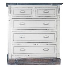 Charles Bentley Shabby Chic Vintage French Style 5 Drawer Chest of Drawers - White