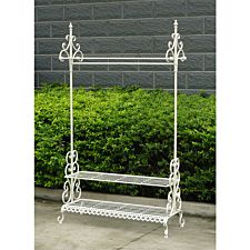 Wrought Iron Clothes and Shoe Rack - White