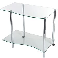 Teknik Ice Light Stand with Tempered Glass and a Stylish Chrome Frame