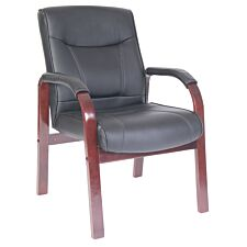 Teknik Kingston Visitor Chair with Mahogany-Coloured Arms and Legs