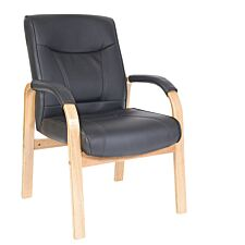 Teknik Kingston Visitor Chair with Oak-Coloured Arms and Legs