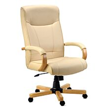 Teknik Knightsbridge Executive Chair with Light Oak-Coloured Wooden Arms and Five-Star Base