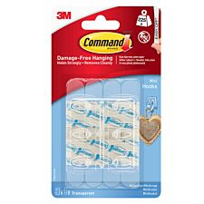 3M Command Mini Clear Hooks with Clear Strips 6 Hooks