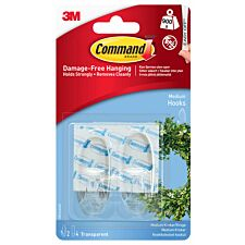 3M Command Medium Clear Hooks - 2 Pack