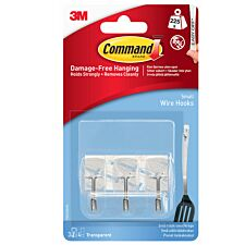 3M Command Small Clear Wire Hooks - 3 Pack
