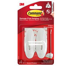 3M Command Medium White Wire Hooks - 2 Pack