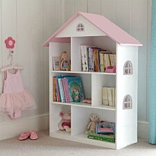 Liberty House Toys Kids White Dollhouse Bookcase with Pink Roof