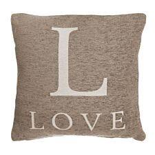 Premier Housewares 'Love' Cushion - Natural