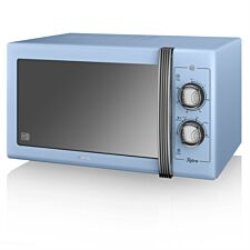 Swan SM22070BLN Retro 900W Manual 25L Solo Microwave – Blue