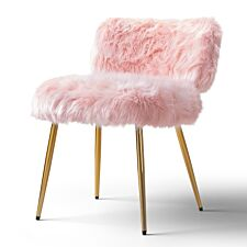 Molly Accent Chair Faux Fur Pink Gold Legs