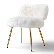 Molly Accent Chair Faux Fur White Gold Legs