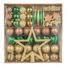 Robert Dyas 50 Piece Multi Assorted Bauble Pack - Gold, Green and Copper