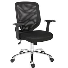 Teknik Office Nova Mesh Back Executive Chair with Matching Black Fabric Seat and Removable Fixed Nylon Armrests