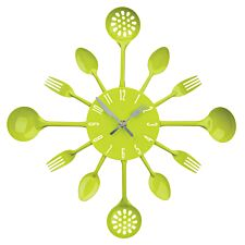 Cutlery Wall Clock - Lime Green