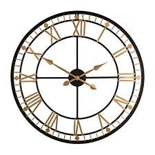Metal Wall Clock - Black and Gold