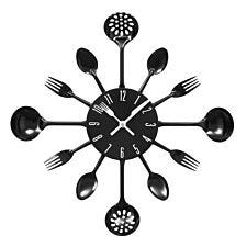Cutlery Metal Wall Clock - Black