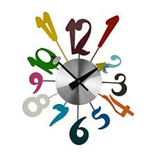 Funky Numbers Wall Clock - Multi-Coloured