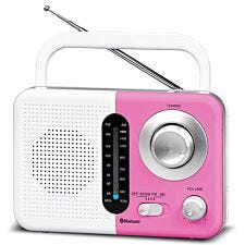 Soundz BT USB SD AC/DC Portable Radio with Bluetooth - White/Pink