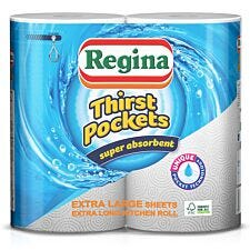 Regina Thirst Pockets 2-Ply Kitchen Roll - Pack of 2