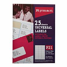 Ryman P21 Universal Label Sheets – 25 Pack