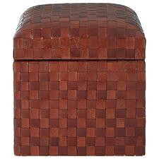 Inca Storage Stool Brown Leather
