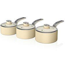 Swan Retro 3 Piece Saucepan Set – Cream