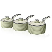 Swan Retro 3 Piece Saucepan Set – Green