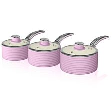 Swan Retro 3 Piece Saucepan Set – Pink