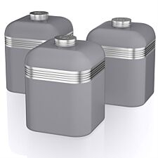 Swan Retro Set Of 3 Canisters - Grey