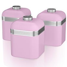 Swan Retro Set Of 3 Canisters - Pink