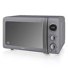 Swan Retro 800W 20L Digital Solo Microwave - Grey