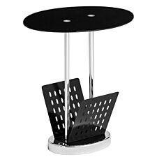 Magazine Table Black Glass Chrome Finish Base