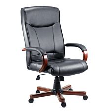 Teknik Kingston Executive Chair with Mahogany-Coloured Arms and Five-Star Base