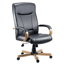 Teknik Kingston Executive Chair with Oak-Coloured Arms and Five-Star Base