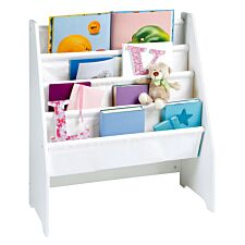 Liberty House Toys Kids White Wooden Book Display with Canvas Pockets
