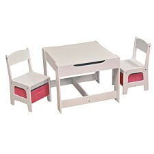 Liberty House Toys Kids White Table & Chair Set with Pink Storage Bins