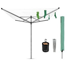 Brabantia Lift-O-Matic 50m 4-Arm Rotary Airer with Ground Spike, Cover and Peg Bag