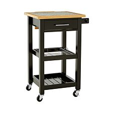 Premier Housewares Pinewood Kitchen Trolley with Granite Chopping Surface - Black