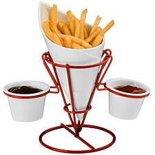 Premier Housewares French Fries Cone & Dips Stand Set - Red